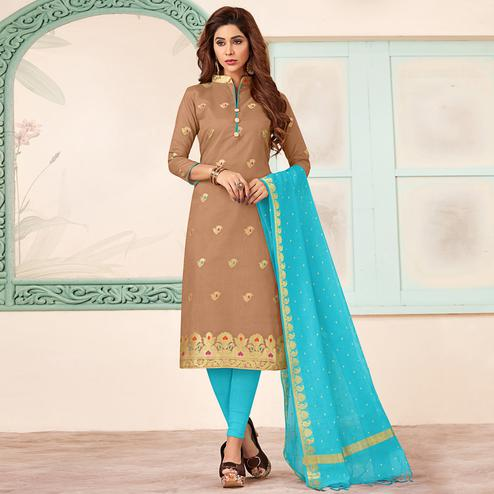 Mesmeric Brown Colored Festive Wear Woven Banarasi Silk Dress Material
