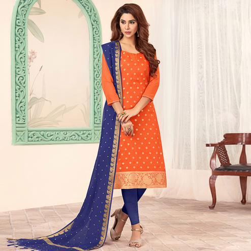 Unique Orange Colored Festive Wear Woven Banarasi Silk Dress Material