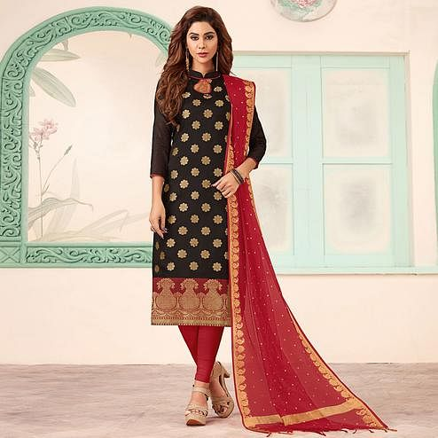 Demanding Black Colored Festive Wear Woven Banarasi Silk Dress Material
