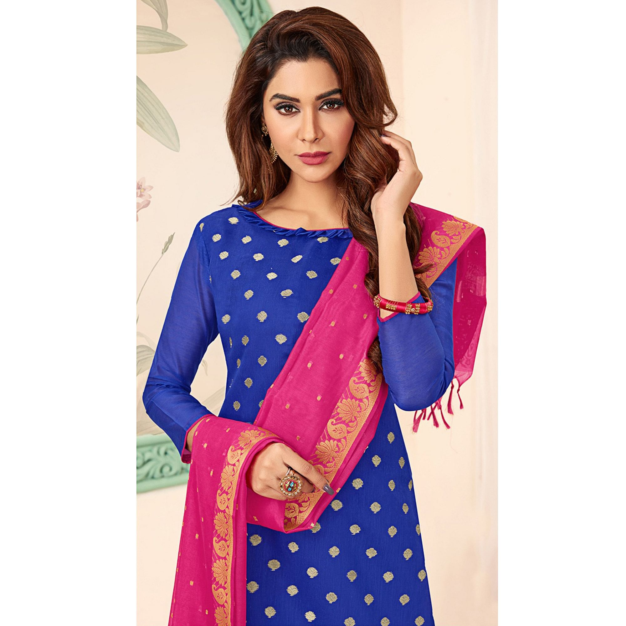 Refreshing Royal Blue Colored Festive Wear Woven Banarasi Silk Dress Material