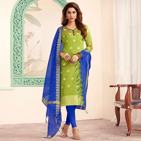 Hypnotic Green Colored Festive Wear Woven Banarasi Silk Dress Material