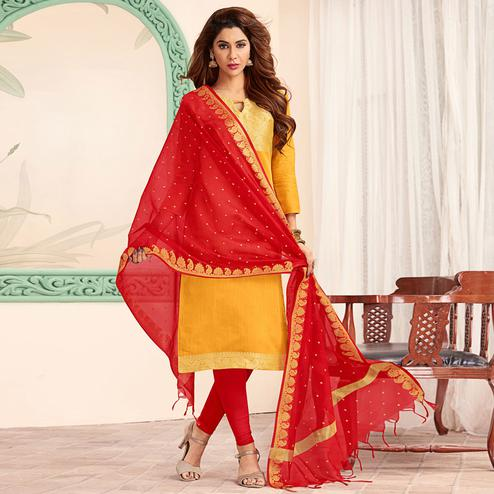 Flattering Yellow Colored Festive Wear Woven Banarasi Silk Dress Material