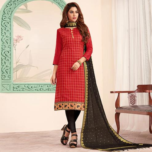 Preferable Red Colored Festive Wear Woven Banarasi Silk Dress Material
