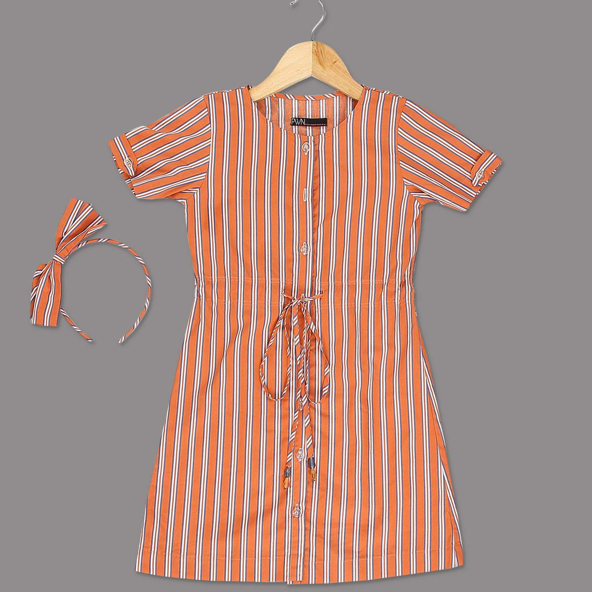PWN Glorious Orange Colored Striped Printed Half Sleeves Cotton Frock