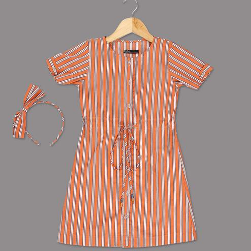 Glorious Orange Colored Striped Printed Half Sleeves Cotton Frock