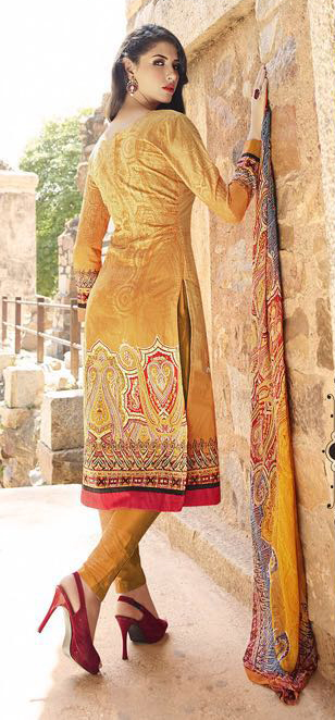 Yellow Print Work Embroidered Suit