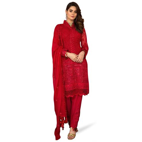 Arresting Crimson Red Colored Partywear Embroidered Georgette Pant Style Kashmiri Suit