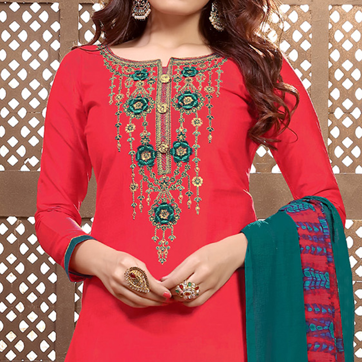 Glorious Red Colored Partywear Embroidered Cotton Patiala Suit
