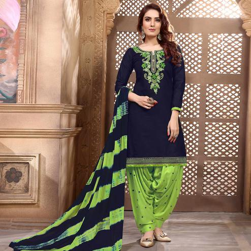 Attractive Navy Blue Colored Partywear Embroidered Cotton Patiala Suit