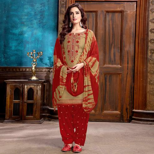 Beautiful Brown Colored Partywear Embroidered Cotton Patiala Suit