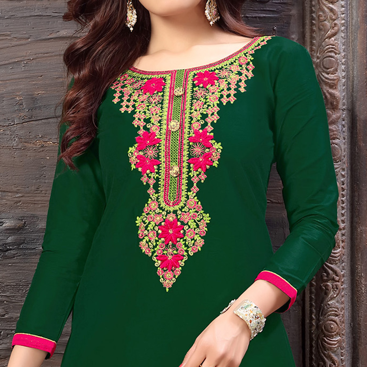 Graceful Dark Green Colored Partywear Embroidered Cotton Patiala Suit