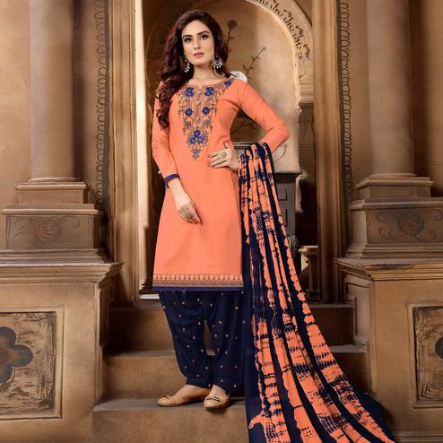 Jazzy Peach Colored Partywear Embroidered Cotton Patiala Suit