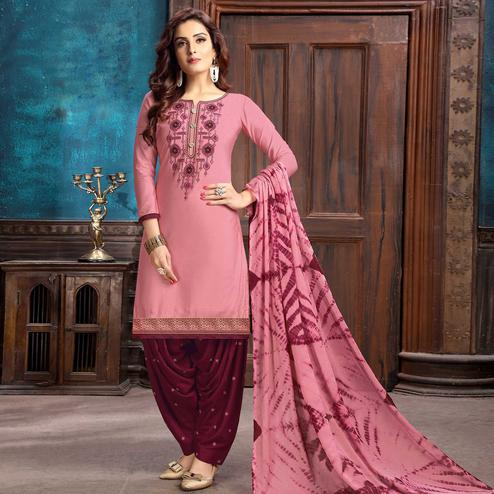 Delightful Pink Colored Partywear Embroidered Cotton Patiala Suit