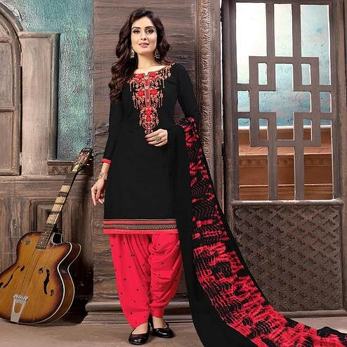 Engrossing Black Colored Partywear Embroidered Cotton Patiala Suit