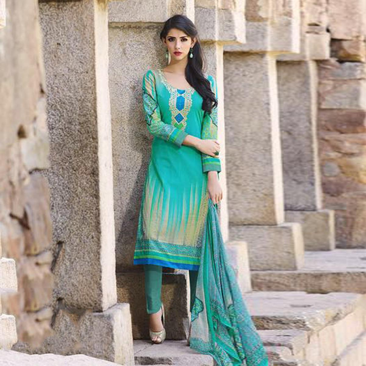 Sea Green Casual Wear Cotton Suit