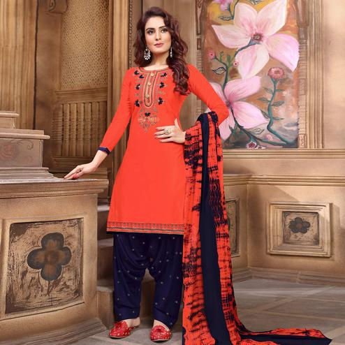 Captivating Coral Red Colored Partywear Embroidered Cotton Patiala Suit
