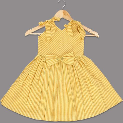 Attractive Yellow Colored Striped Printed Sleeveless Cotton Frock