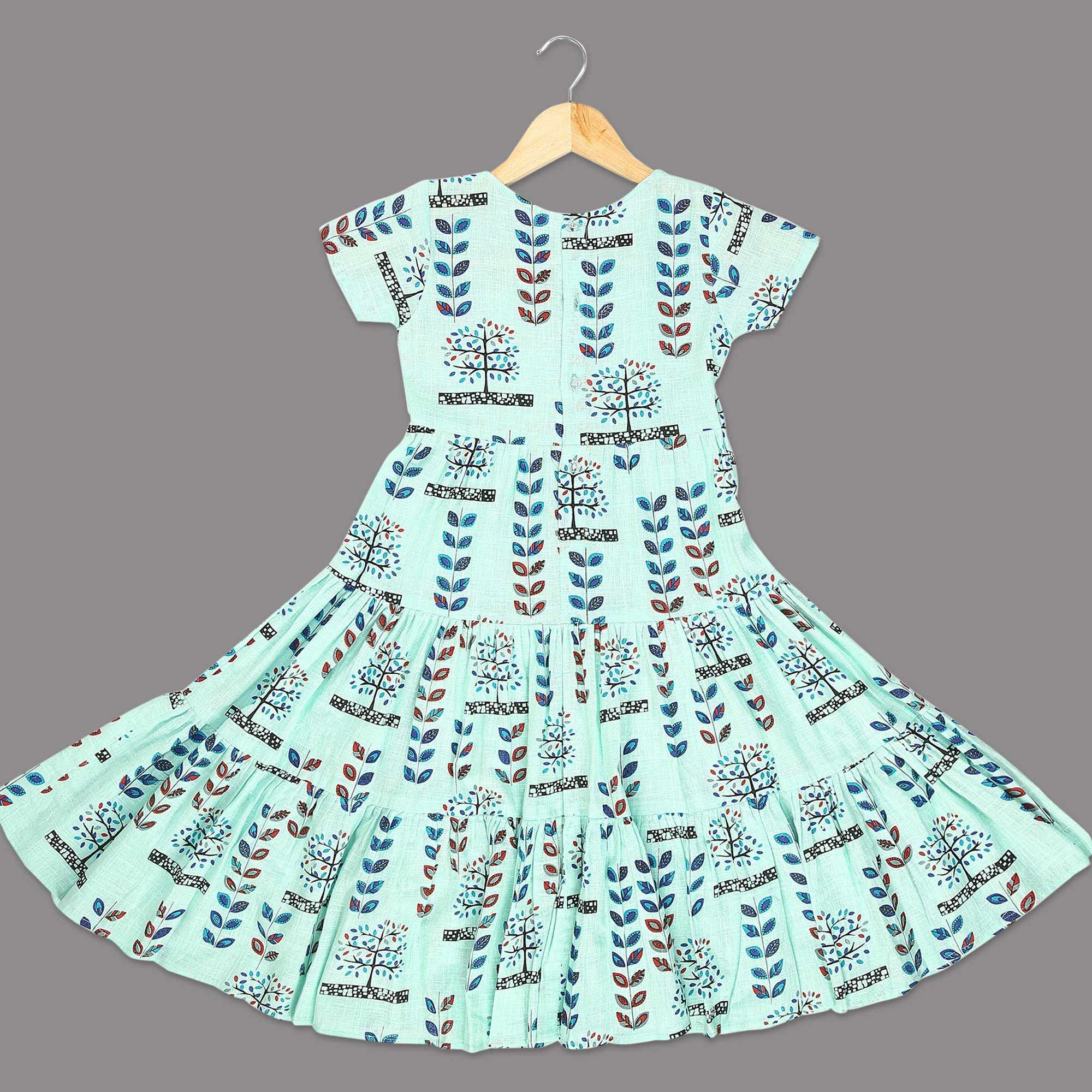 Beautiful Aqua Blue Colored Printed Half Sleeves Cotton Frock