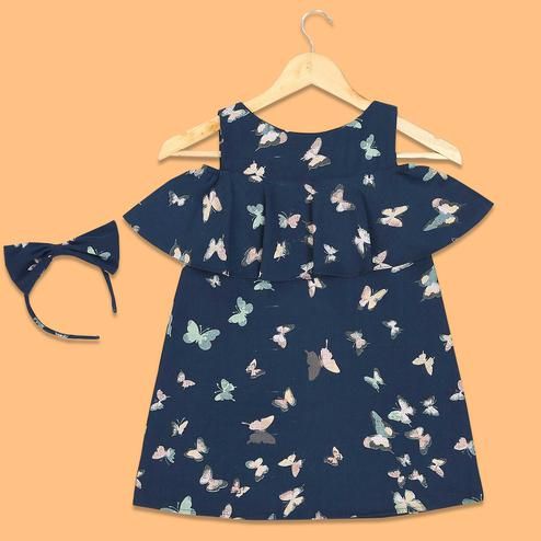 Blooming Navy Blue Colored Butterfly Printed Fancy Sleeves Crepe Frock