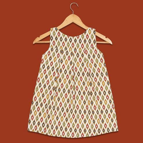 PWN Charming Beige Colored Printed Sleeveless Cotton Frock
