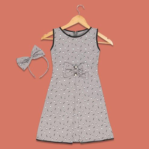 PWN Delightful Gray Colored Penguin Printed Sleeveless Straight Frock
