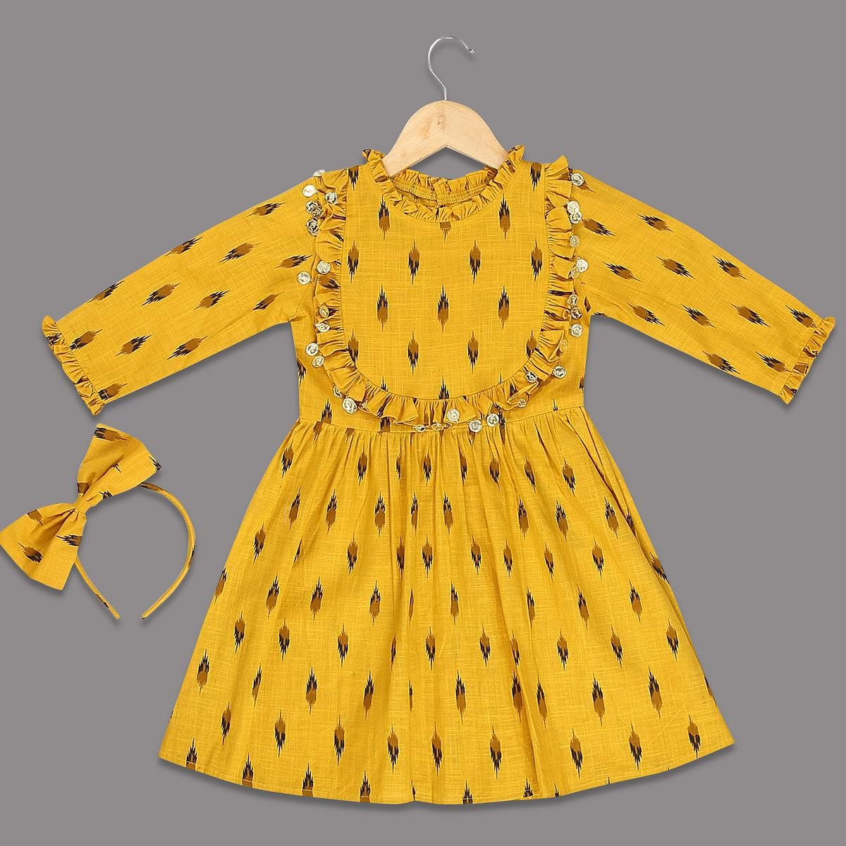 Captivating Yellow Colored Printed Long Sleeves Cotton Frock