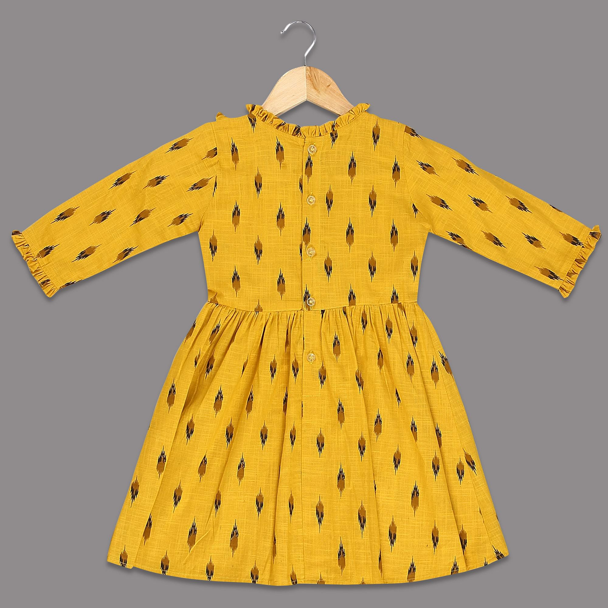 PWN Captivating Yellow Colored Printed Long Sleeves Cotton Frock