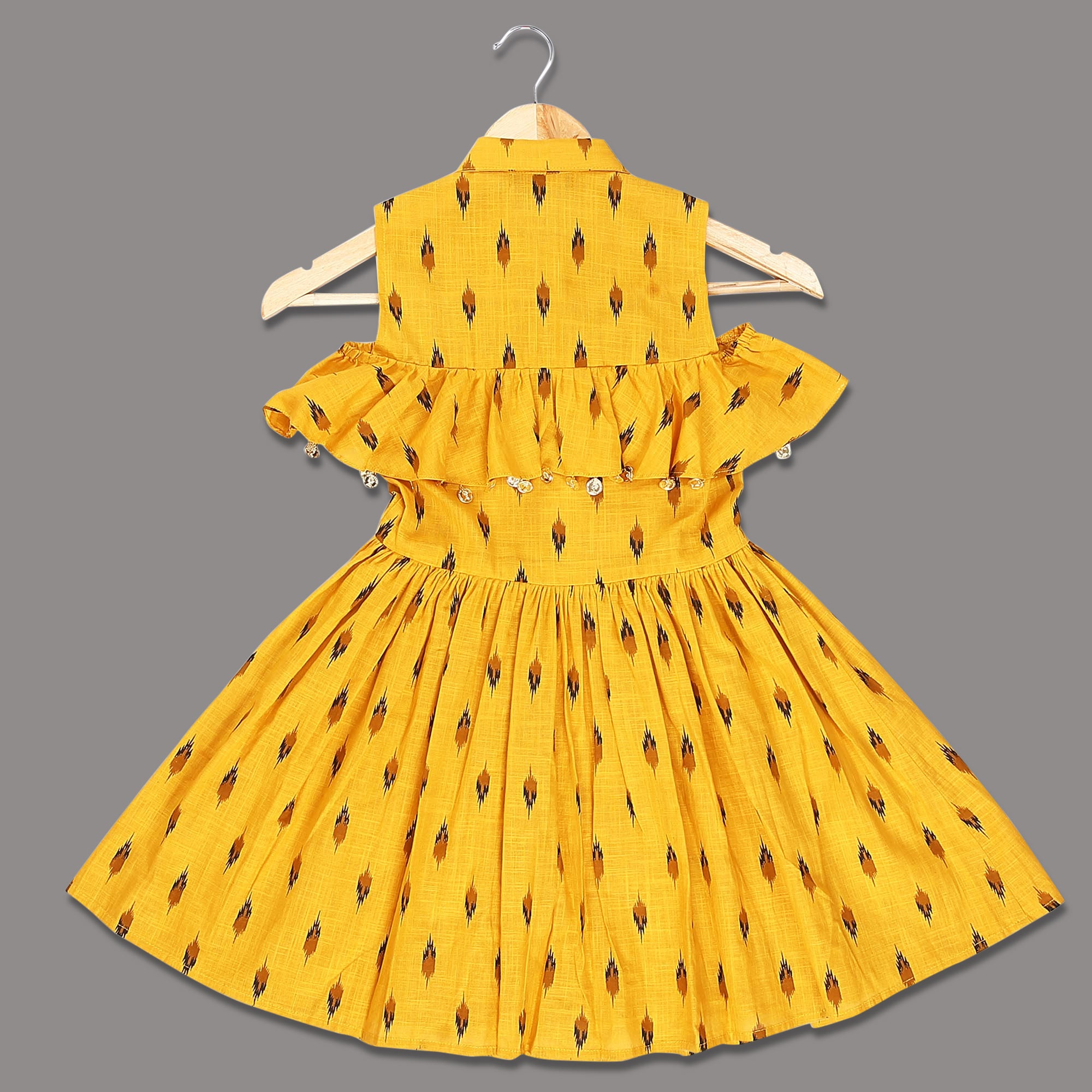 Innovative Yellow Colored Printed Ruffled Cotton Frock