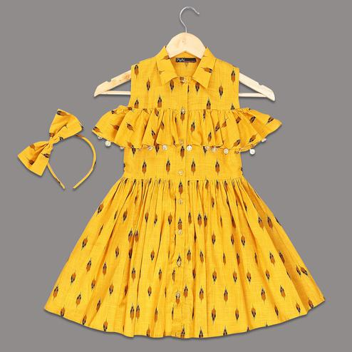 PWN Innovative Yellow Colored Printed Ruffled Cotton Frock