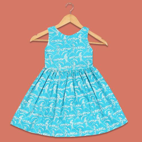 Fantastic Sky Blue Colored Bird Printed Sleeveless Cotton Frock