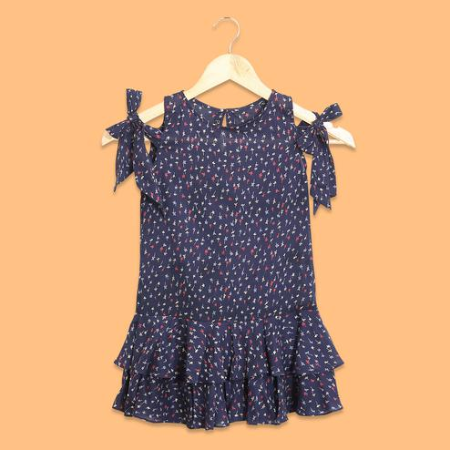 Gorgeous Navy Blue Colored Printed Fancy Sleeves Cotton Frock