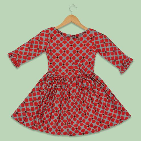 Blissful Red-Grey Colored Printed Long Sleeves Cotton Frock