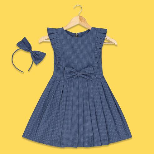 Ideal Blue Colored Polka Dotted Fancy Sleeves Cotton Frock
