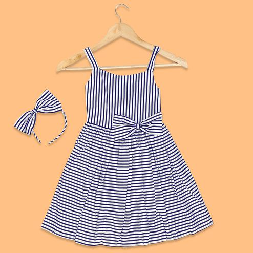 Imposing Navy Blue-White Colored Striped Printed Cotton Frock