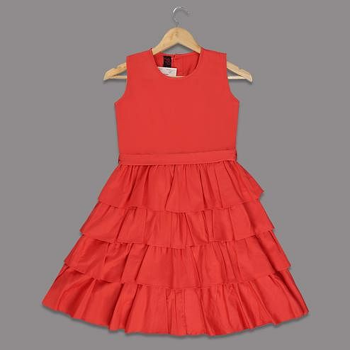 Majesty Coral Red Colored Ruffled Sleeveless Cotton Satin Frock