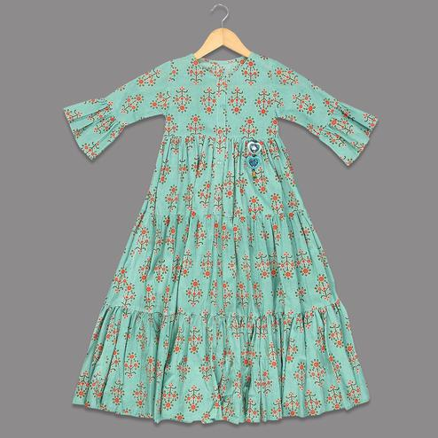 Pleasance Aqua Green Colored Printed Bell Sleeves Cotton Frock