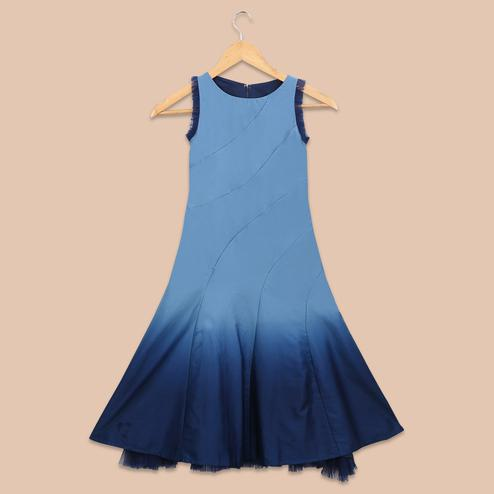 Ravishing Blue Colored Ombre Printed Netted Sleeves Cotton Satin Frock