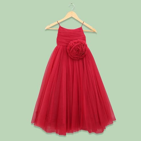Flaunt Red Colored Partywear Sleeveless Netted Gown