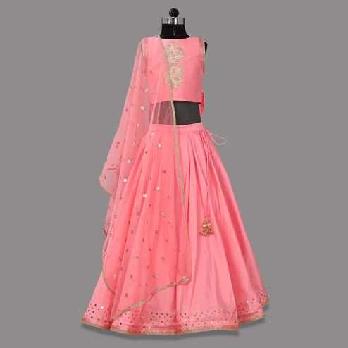PWN Elegant Pink Colored Partywear Embroidered Box Pleatet Tapeta Silk Lehenga Choli