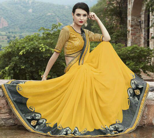 Yellow Lace Border Work Georgette Saree