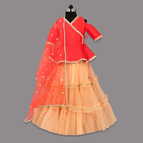 Mesmeric Red-Beige Colored Partywear Cold Shoulder Net Lehenga Choli