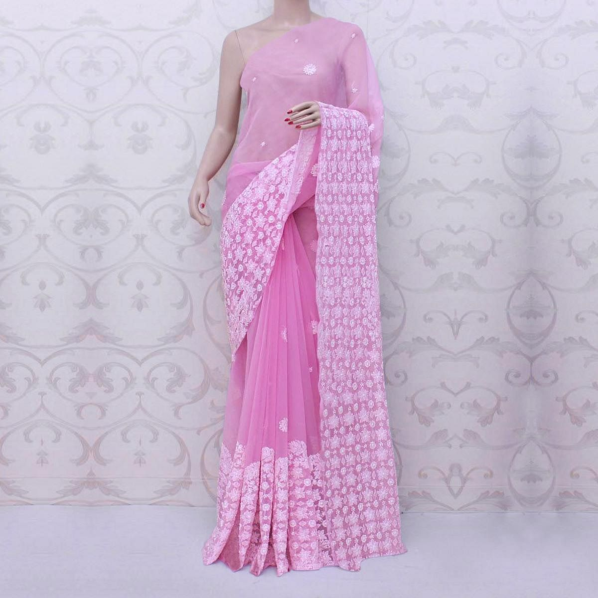 Refreshing Pink Colored Partywear Embroidered Organza Silk Saree