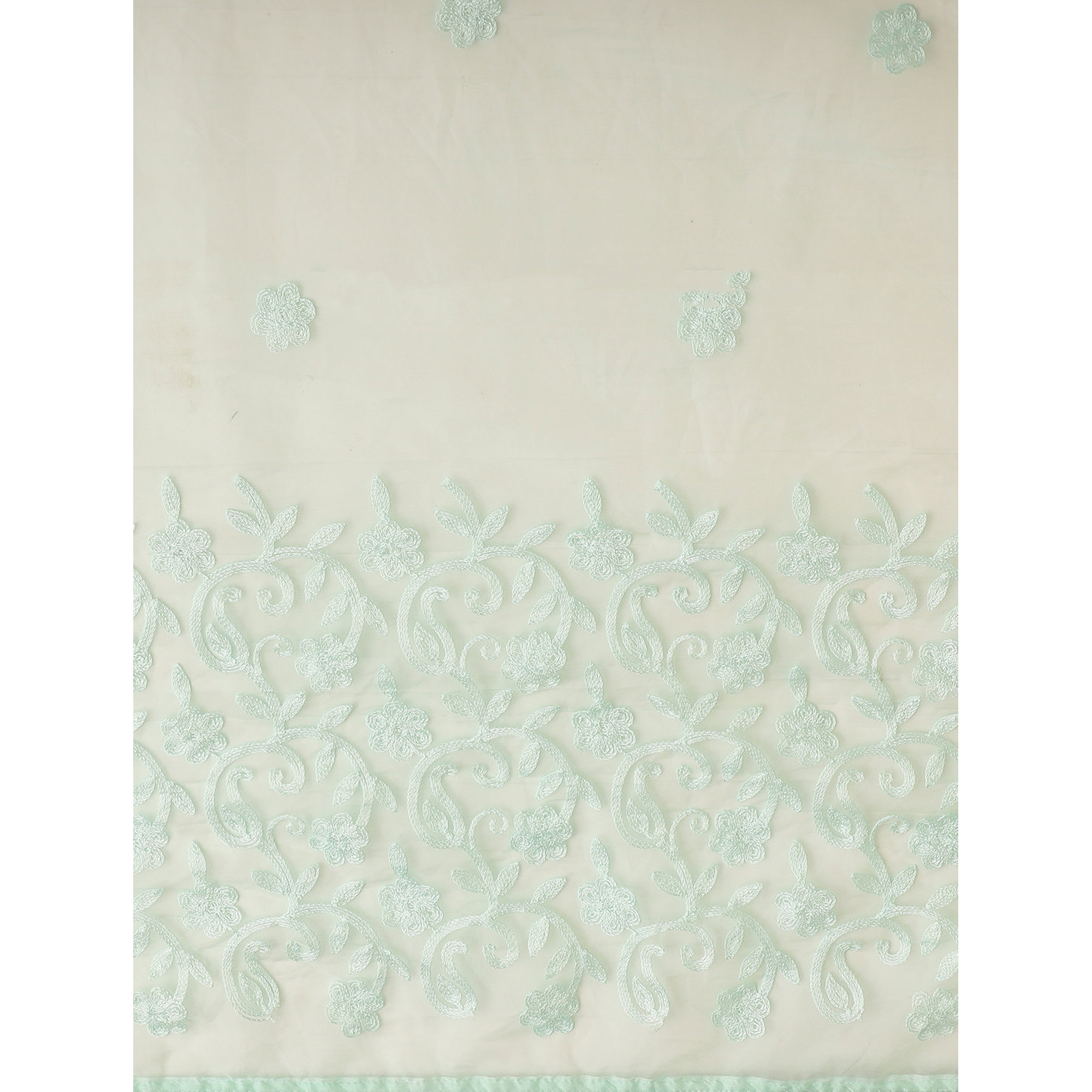 Appealing Aqua Blue Colored Partywear Embroidered Organza Silk Saree