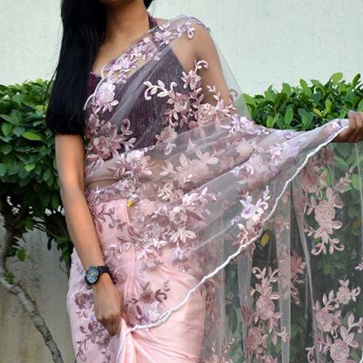 Stunning Pink Colored Partywear Embroidered Satin-Tissue Half-Half Saree