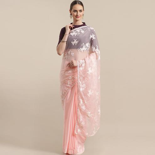 Stunning Peach Colored Partywear Embroidered Satin-Tissue Half-Half Saree