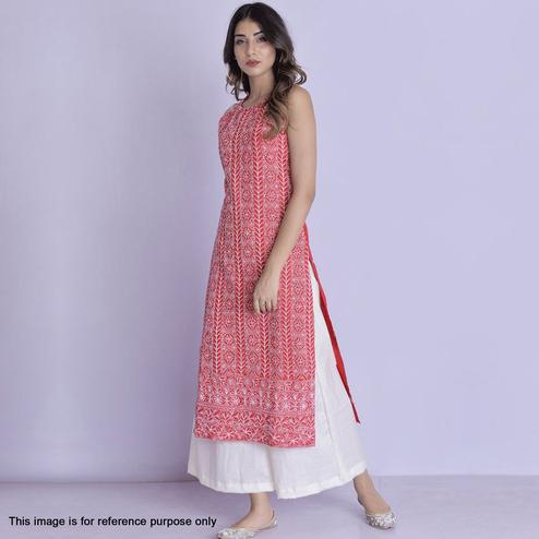 Flaunt Red Colored Partywear Embroidered Cotton Palazzo Suit