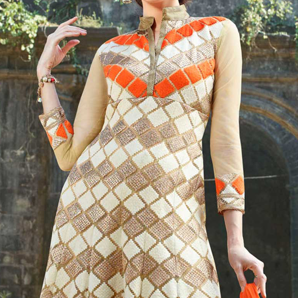 Cream - Orange Georgette Anarkali