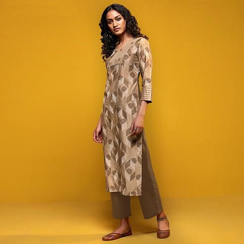 Demanding Beige Colored Casual Printed Cotton Silk Kurti-Bottom Set