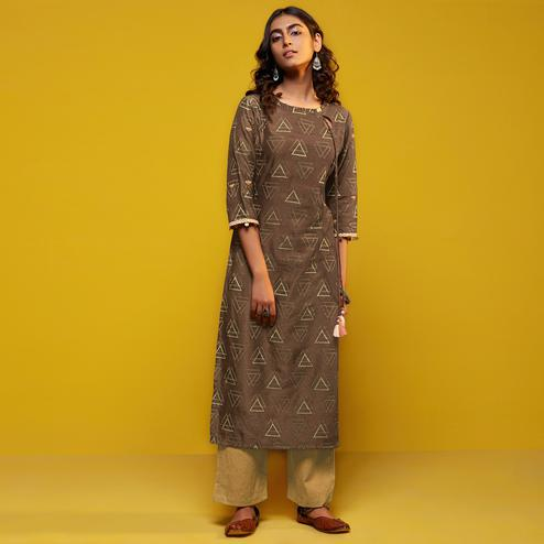 Flattering Brown Colored Casual Printed Cotton Silk Kurti-Bottom Set