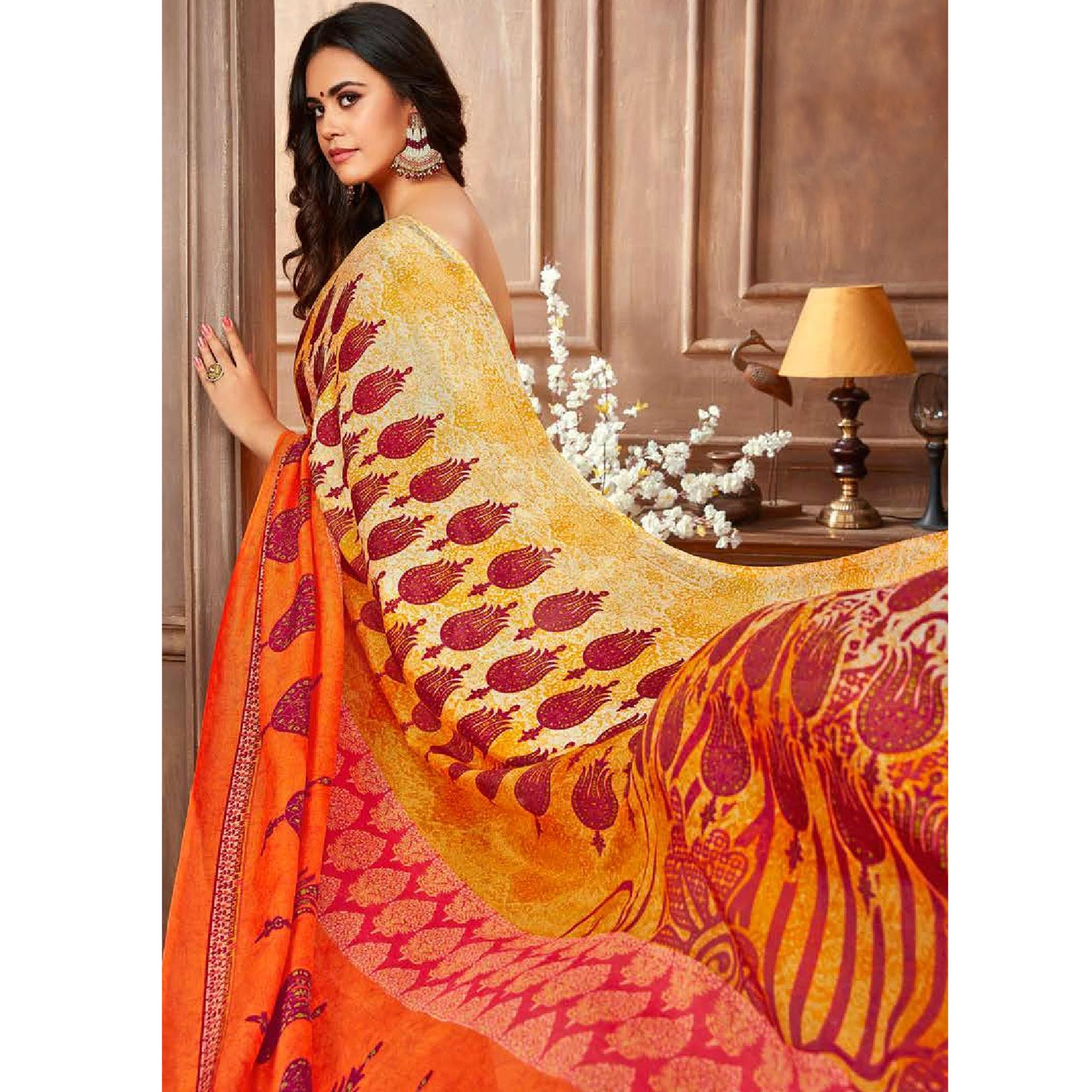 Demanding Orange-Multi Colored Casual Printed Linen Silk Saree